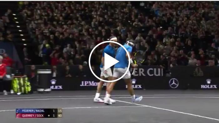 Nadal montre des réflexes rapides en double avec Federer