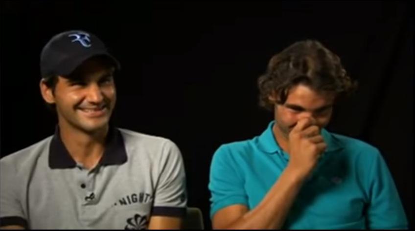 Roger Federer et Rafa Nadal ne peuvent pas arrêter de rire à la télévision  place